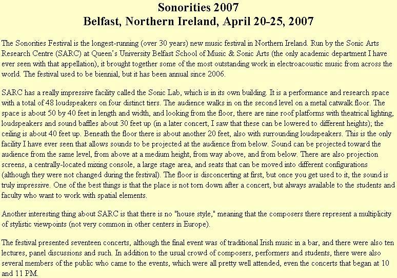 Sonorities 2007 - Belfast, Northern Ireland, April 20-25, 2007 ...