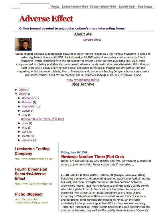 Adverse Effect Magazine July 2009