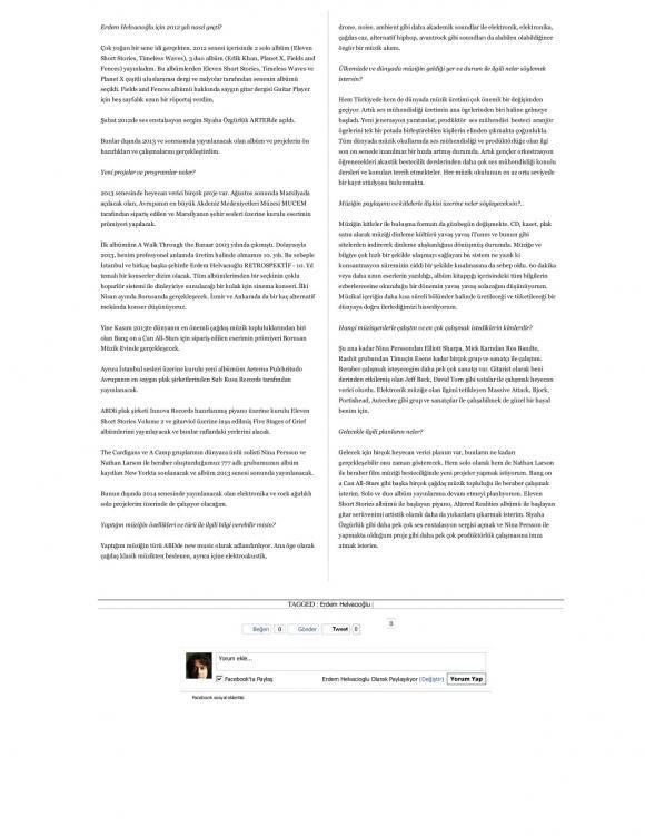 Artfulliving Dergisi Röportaj Mart 2013