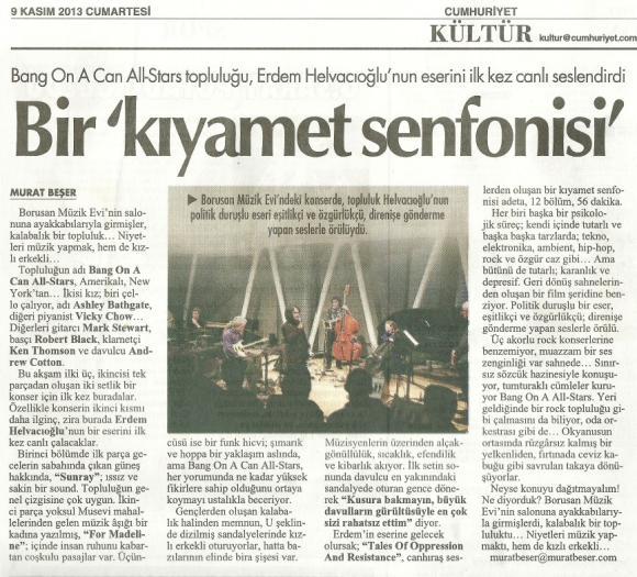Cumhuriyet gazetesi 9 Kasım 2013