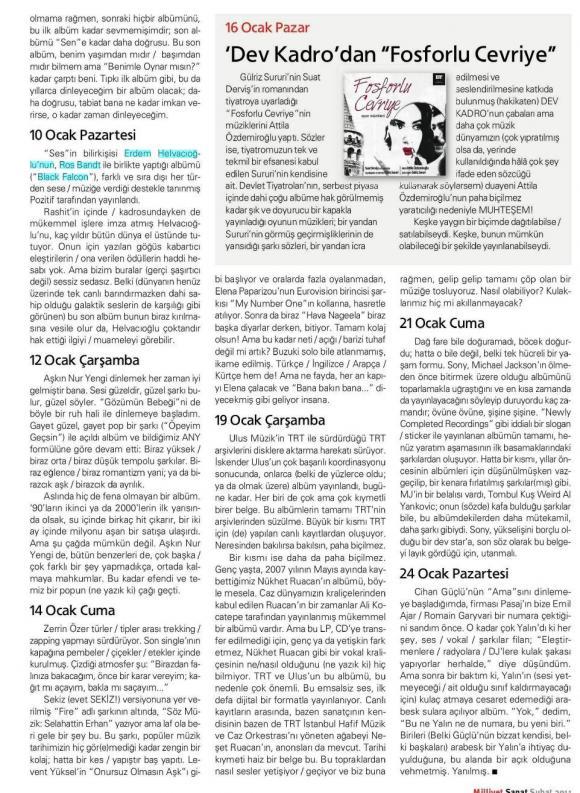Milliyet Sanat dergi 1 Şubat 2011