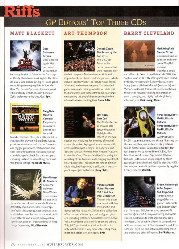 Guitar Player Magazine September 2010