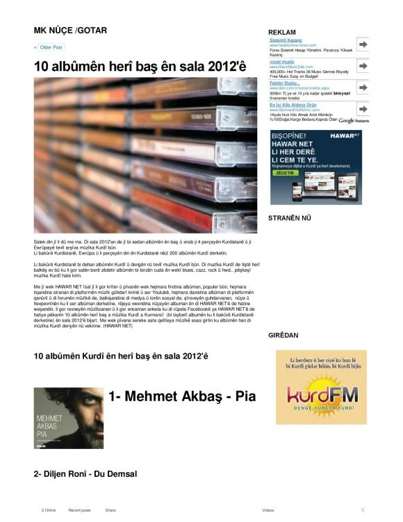 HAWAR Magazine - BEST ALBUMS OF 2012