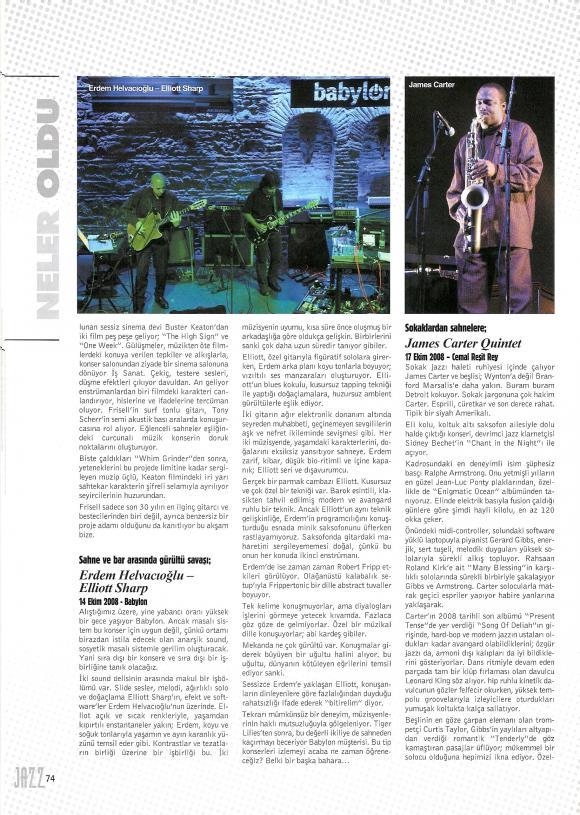 Jazz dergisi - Akbank Fest - Ocak2008