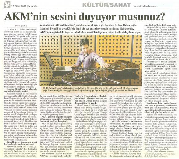 Radikal gazetesi 17 Ekim 2007