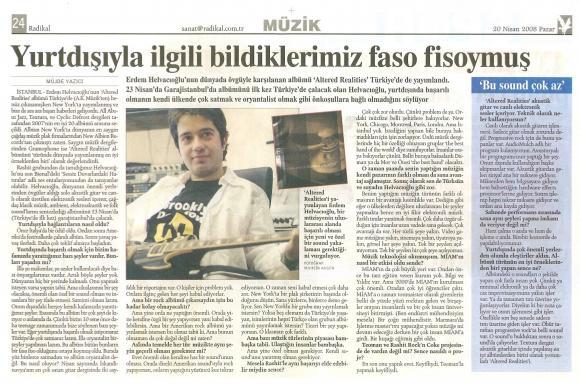 Radikal gazetesi 20 Nisan 2008