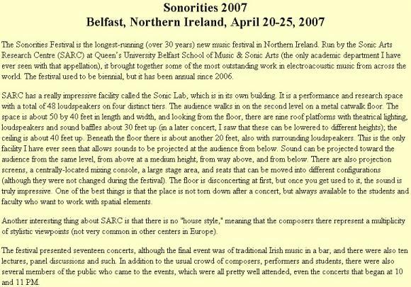 Sonorities 2007 - Belfast, Northern Ireland, April 20-25,  2007