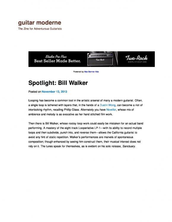 Guitar Moderne magazine interview with Bill Walker November 2013