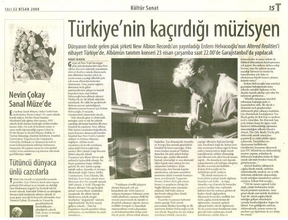 Taraf gazetesi 22 Nisan 2008