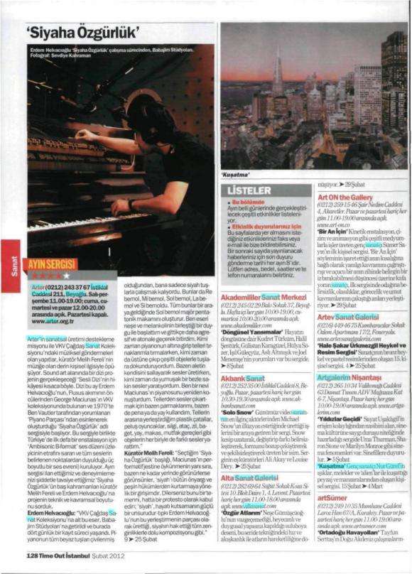 Time Out İstanbul Dergisi Şubat 2012