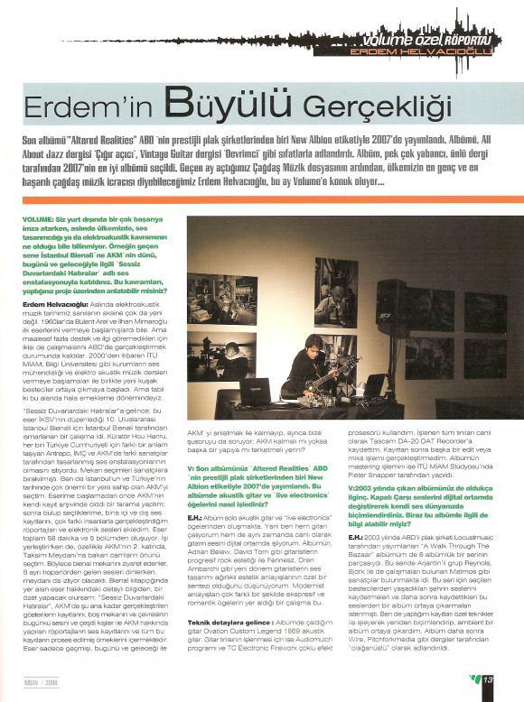Volume dergi Nisan 2008